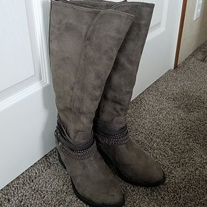Grey Suede Heeled Boots